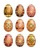 Pysanky easter eggs isolated on white. Traditional ukrainian easter eggs.