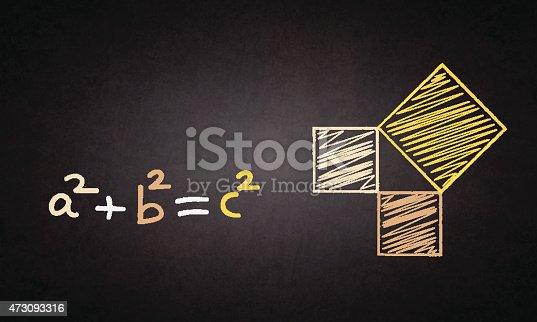 Pythagorean theorem in multi-color chalk drawn on blackbaord