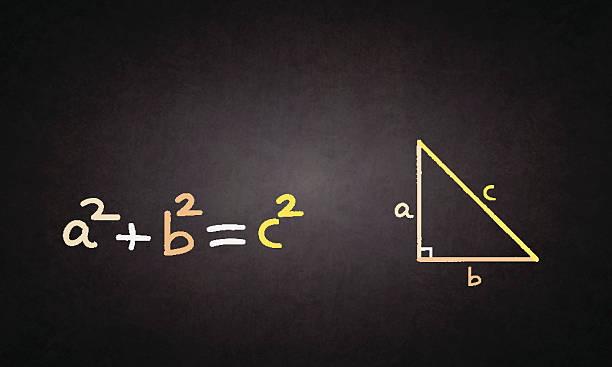 Pythagorean theorem Pythagorean theorem drawn on blackboard right angle stock illustrations