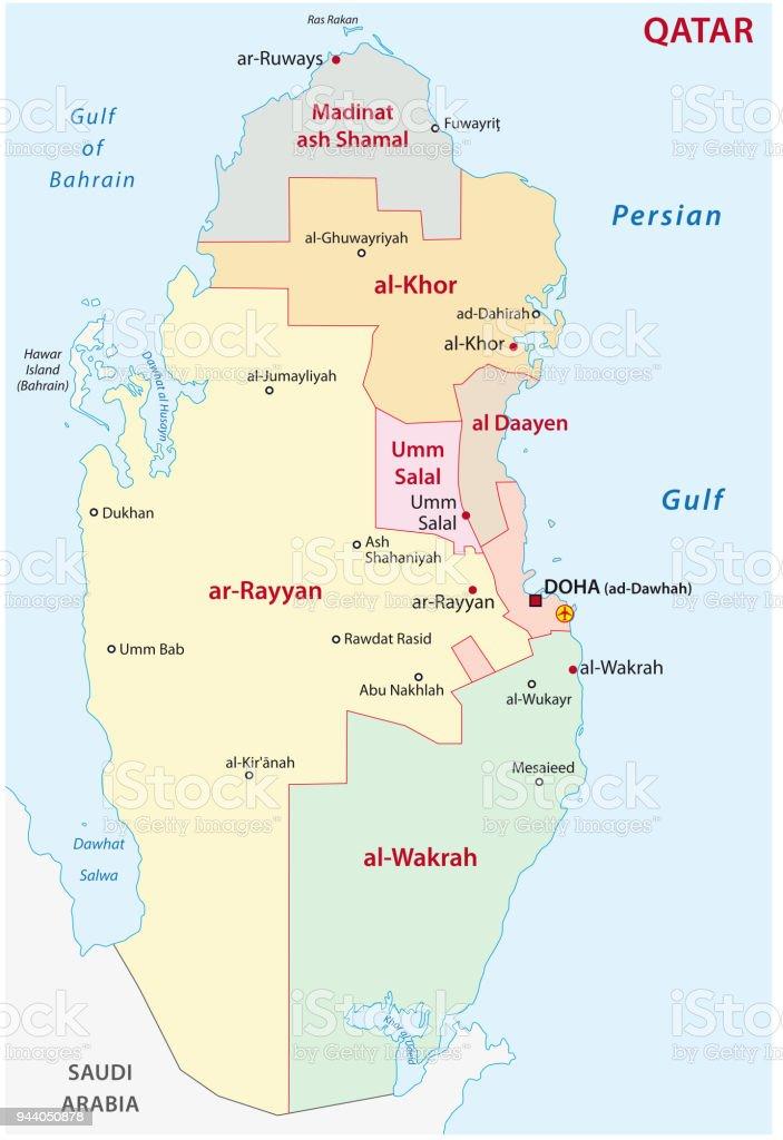 Qatar Administrativa Och Politiska Karta Vektorgrafik Och Fler