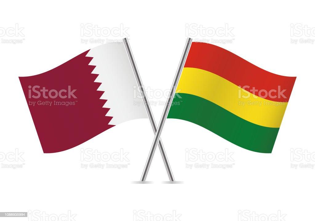 Banderas de Qatar y Bolivia. Ilustración de vector. - ilustración de arte vectorial