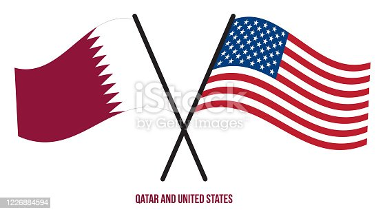 istock Qatar and United States Flags Crossed And Waving Flat Style. Official Proportion. Correct Colors 1226884594