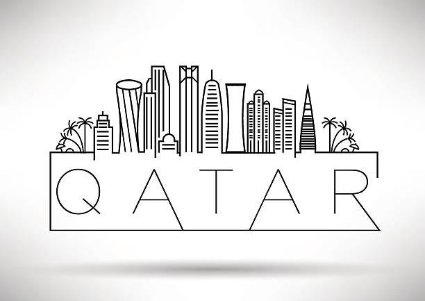 illustrations, cliparts, dessins animés et icônes de qatar city line silhouette design typographique - doha