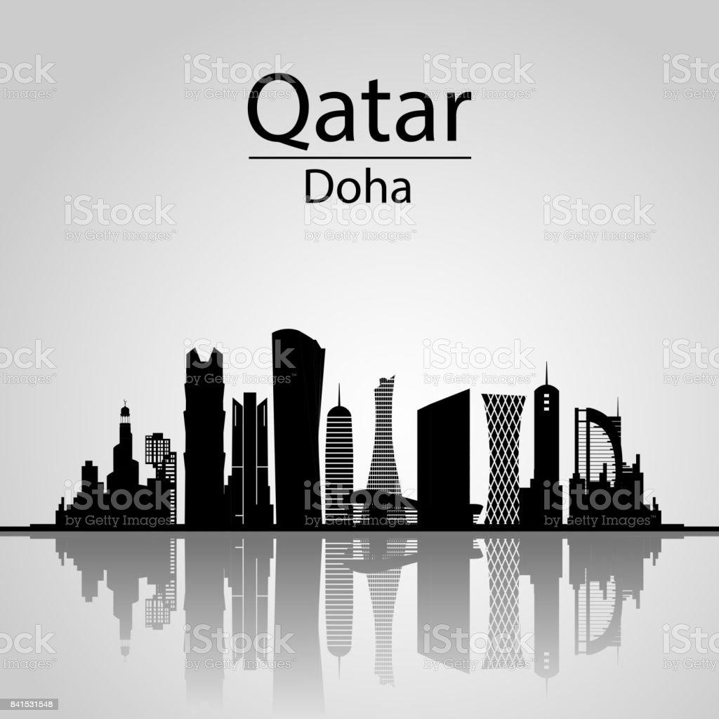 Qatar, Doha Skyline. - Illustration vectorielle