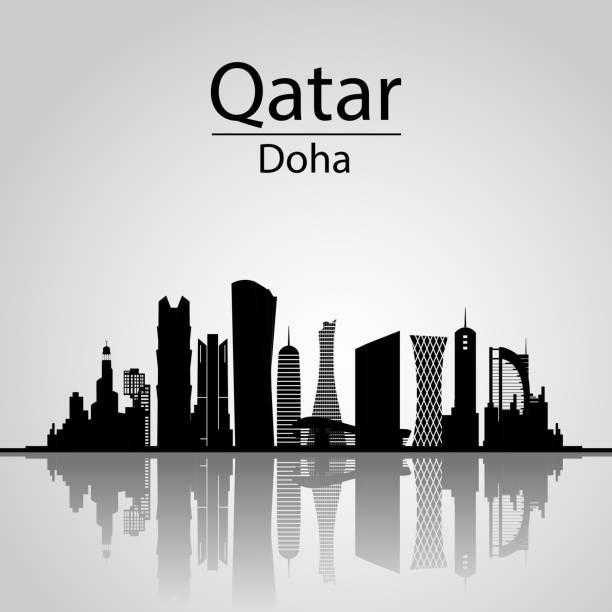ilustraciones, imágenes clip art, dibujos animados e iconos de stock de qatar, skyline de doha. - qatar