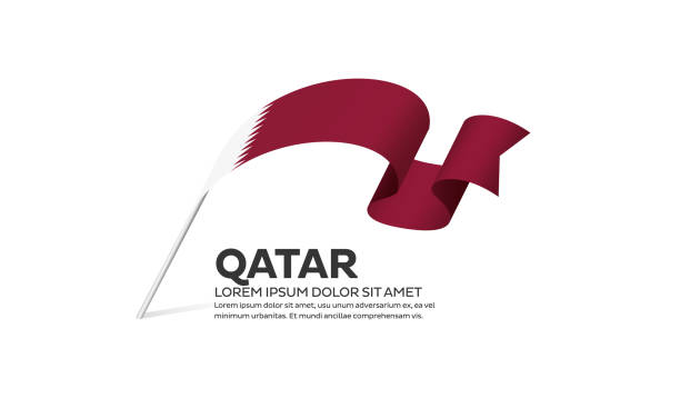 illustrations, cliparts, dessins animés et icônes de fond de drapeau du qatar - doha