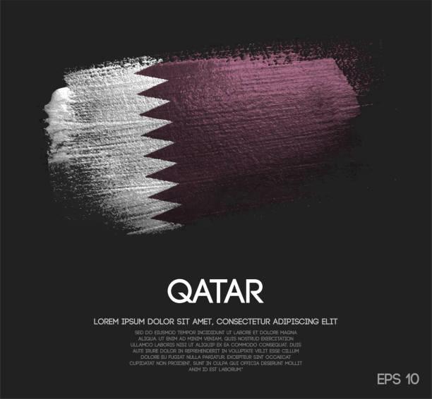 ilustraciones, imágenes clip art, dibujos animados e iconos de stock de bandera de qatar de brillo brillo brocha pintura vectorial - qatar