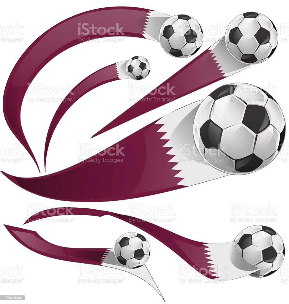 qatar flag set with soccer ball vector art illustration