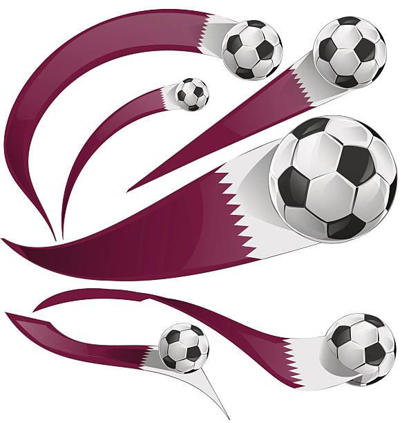 illustrations, cliparts, dessins animés et icônes de qatar ensemble avec ballon de football de drapeau - doha