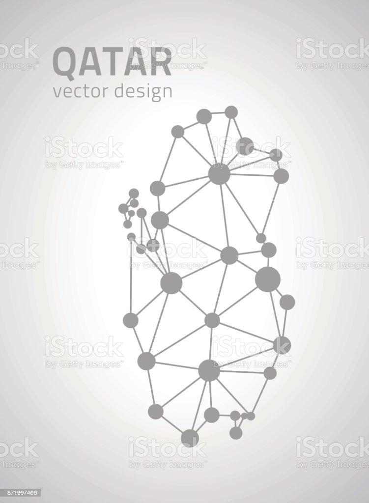 Qatar Grey Outline Vector Contour Map Stock Illustration - Download