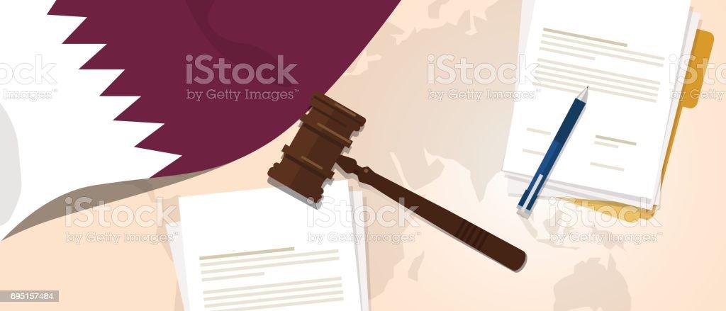 Qatar law constitution legal judgment justice legislation trial concept using flag gavel paper and pen vector art illustration