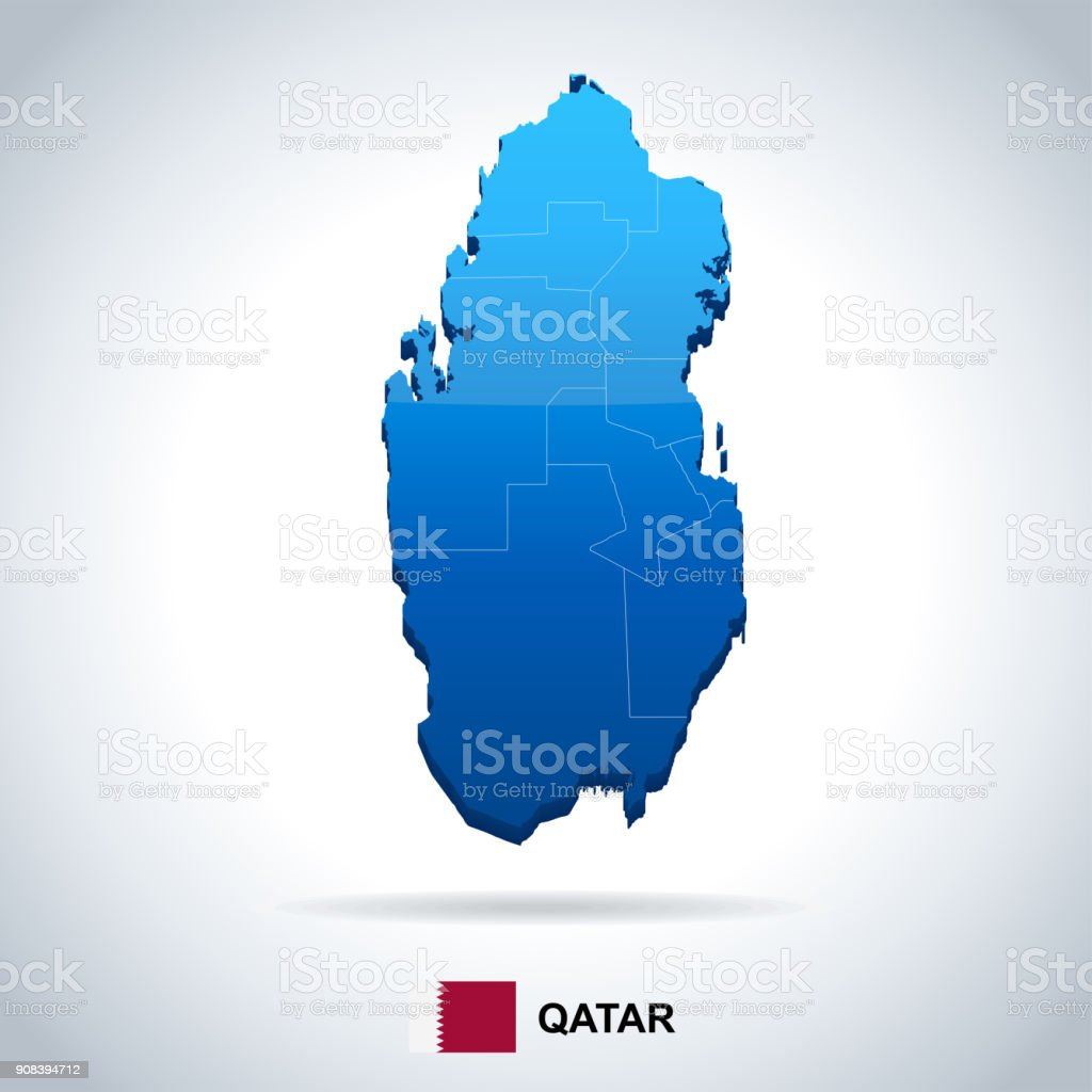 Qatar Map And Flag Detailed Vector Illustration Stock ...