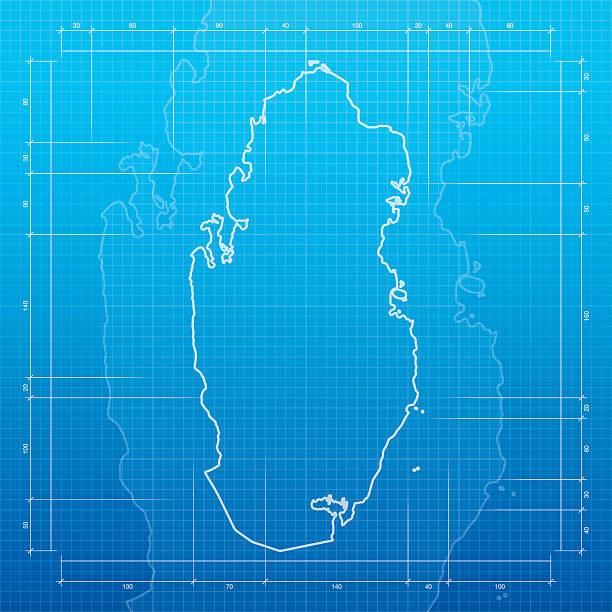 Royalty free doha clip art vector images illustrations istock qatar map on blueprint background vector art illustration malvernweather Images