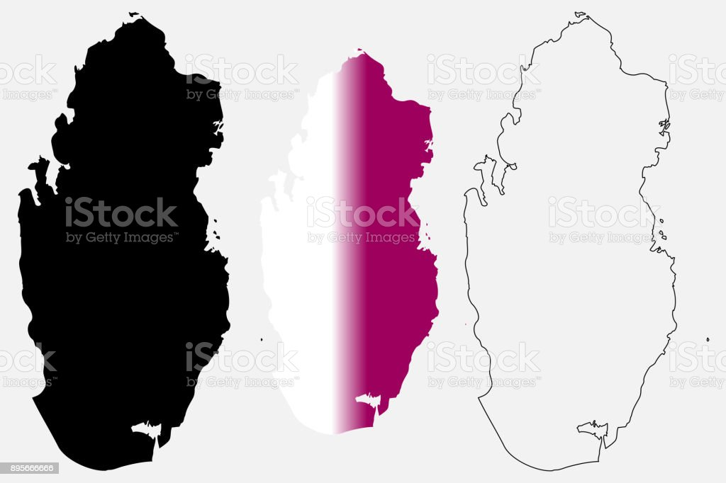 Qatar Map Vector Stock Vector Art & More Images of Abstract ...