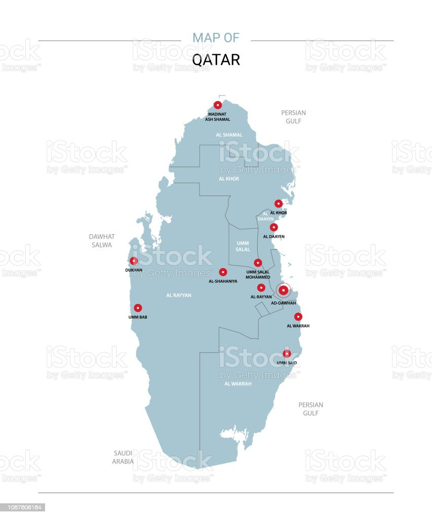Qatar Map Vector With Red Pin Stock Vector Art & More Images ...