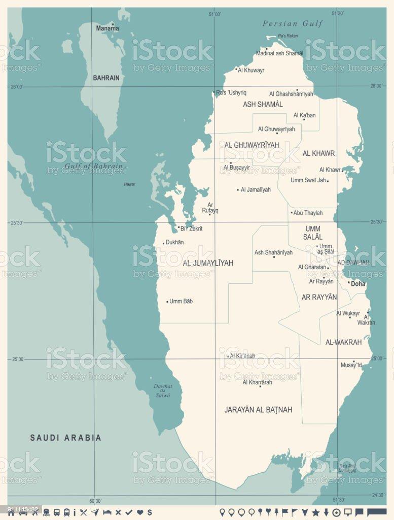 Qatar Map Vintage Detailed Vector Illustration Stock ...