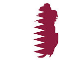 vector illustration of Qatar map with flag
