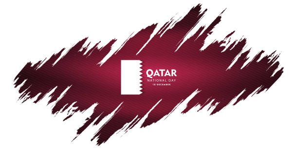 illustrations, cliparts, dessins animés et icônes de qatar national fête du 18 décembre, drapeau ondulant, illustration vectorielle - doha