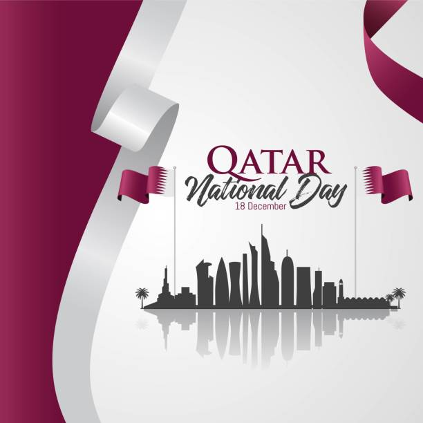 Qatar national day celebration qatar national day 18 th december with landmark and flag national holiday stock illustrations