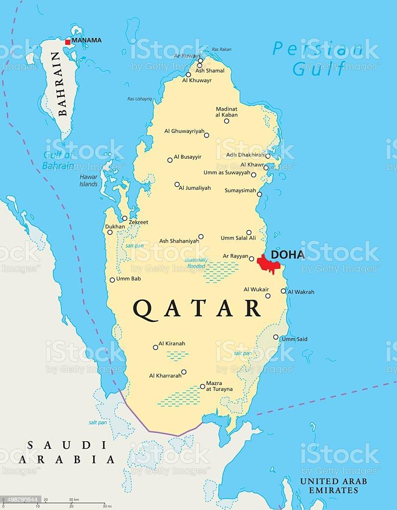 qatar karta Qatar Political Map vektorgrafik och fler bilder på 2015 498296544  qatar karta