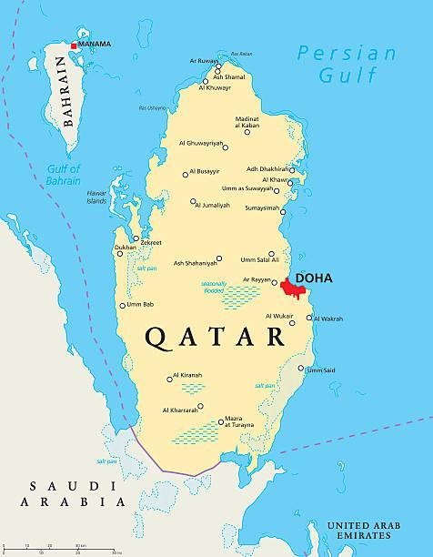ilustraciones, imágenes clip art, dibujos animados e iconos de stock de mapa político de qatar - mapa de oriente medio