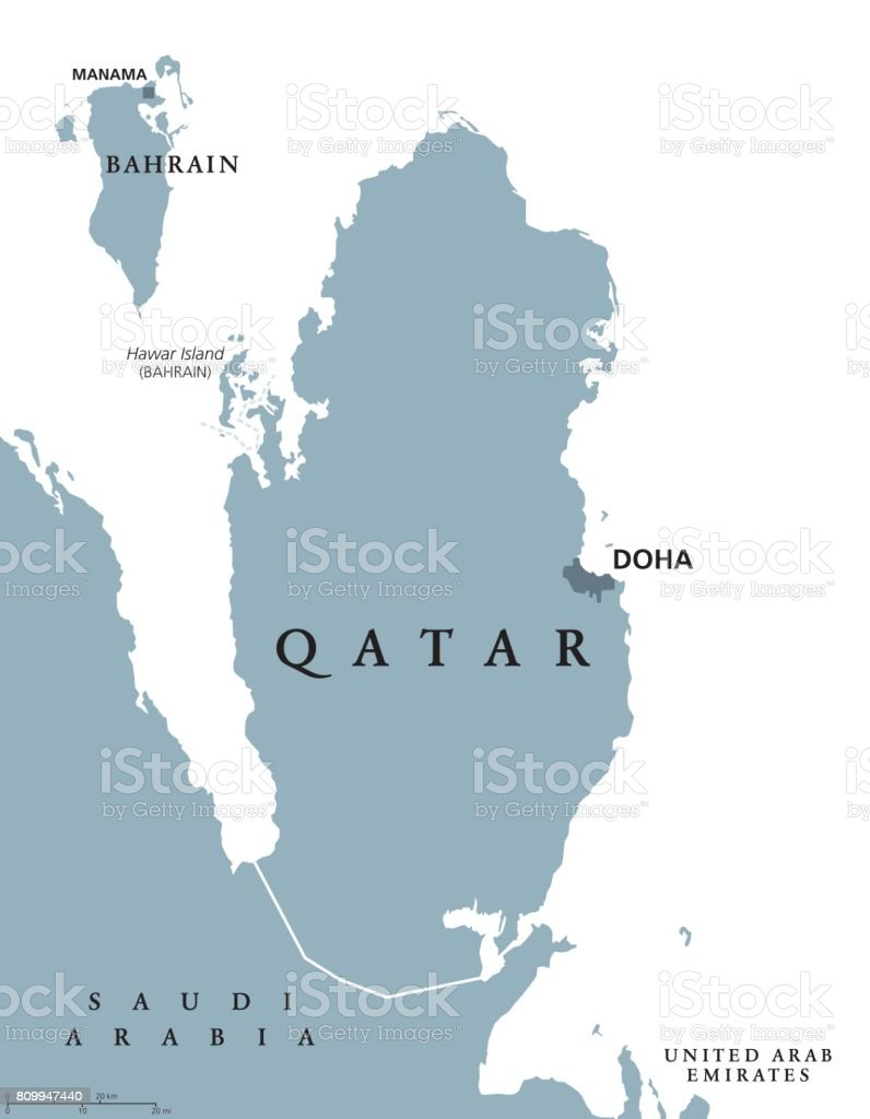 Qatar Political Map Stock Vector Art More Images of Arabia