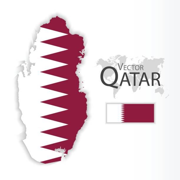 illustrations, cliparts, dessins animés et icônes de qatar (du qatar) (drapeau et carte) (concept de transports et du tourisme) - doha