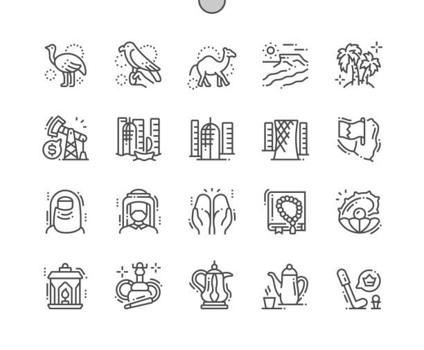 katar gut gestaltete pixel perfect vector thin line icons 30 2x grid für web-grafiken und apps. einfaches minimal piktogramm - perlenstrauß stock-grafiken, -clipart, -cartoons und -symbole