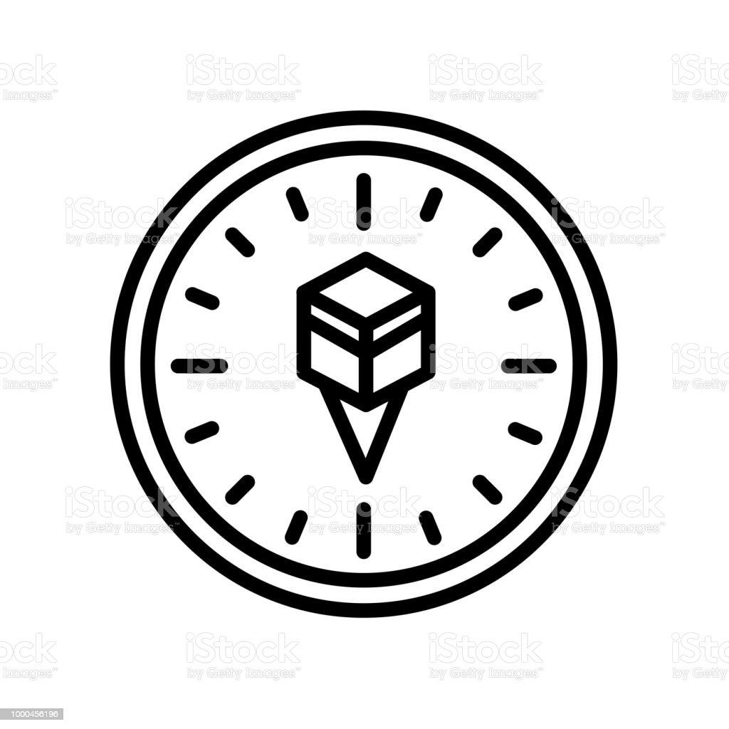 Qibla icon isolated on white background vector art illustration