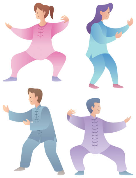Qigong Characters Set Set of 4 flat design characters practicing qigong or tai chi. qigong stock illustrations