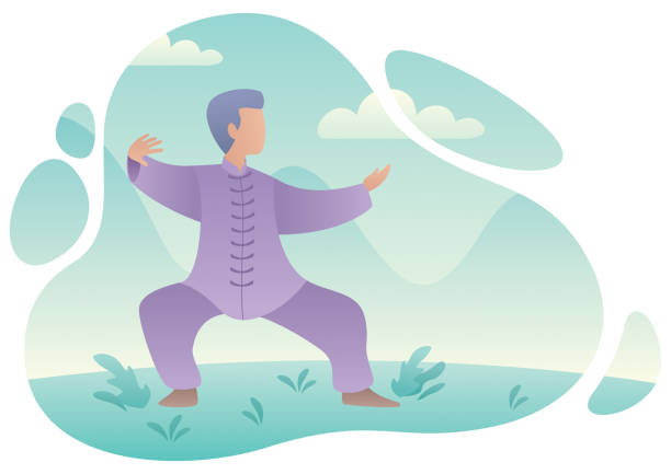 Qigong Practicing Man Flat design illustration of a man practicing qigong or tai chi. qigong stock illustrations