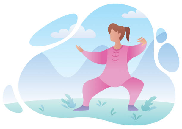 Qigong Practicing Woman Flat design illustration of a woman practicing qigong or tai chi. qigong stock illustrations