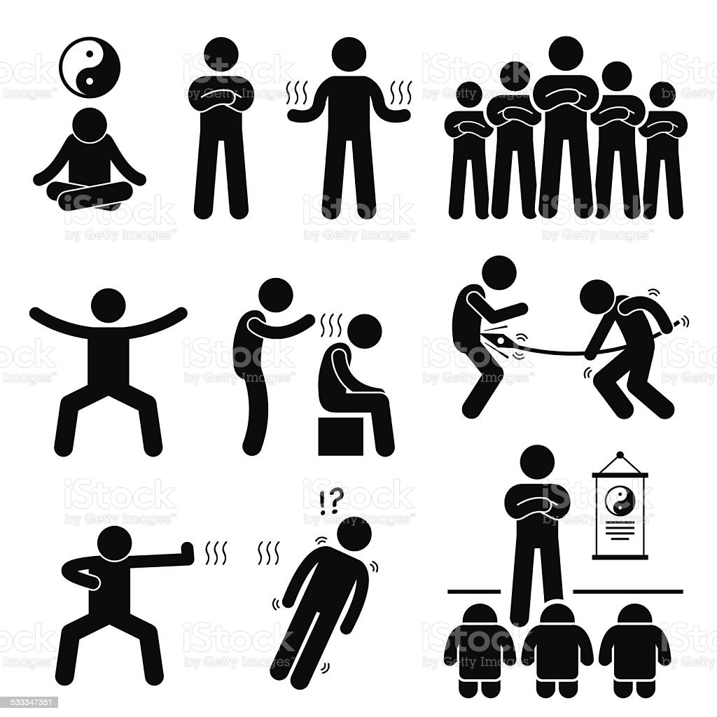 Qigong Qi Energy Power Stick Figure Pictogram Icons vector art illustration