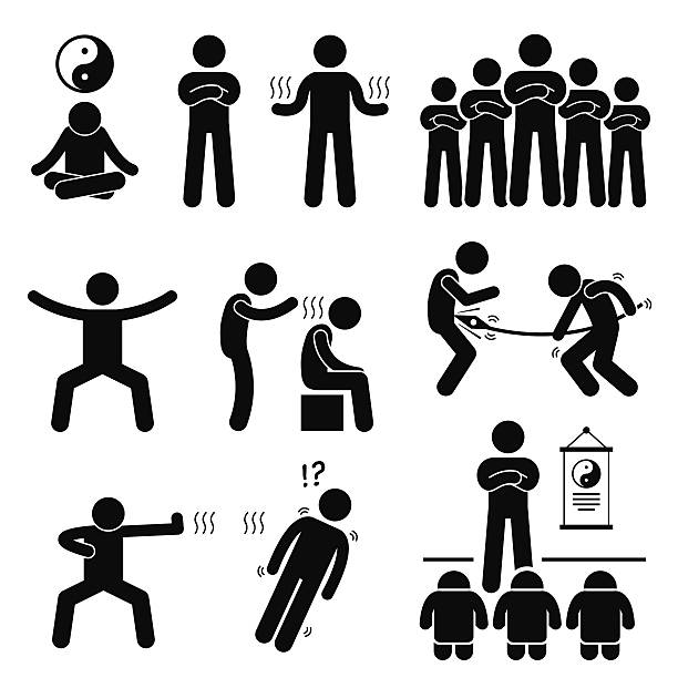 Qigong Qi Energy Power Stick Figure Pictogram Icons A set of human pictogram representing a master of qi gong performing its power and abilities. qigong stock illustrations
