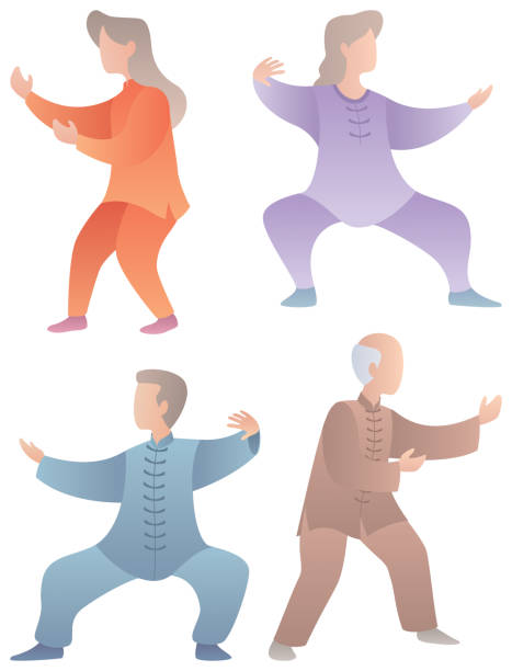 Qigong Senior Characters Set Set of 4 flat design senior characters practicing qigong or tai chi. qigong stock illustrations