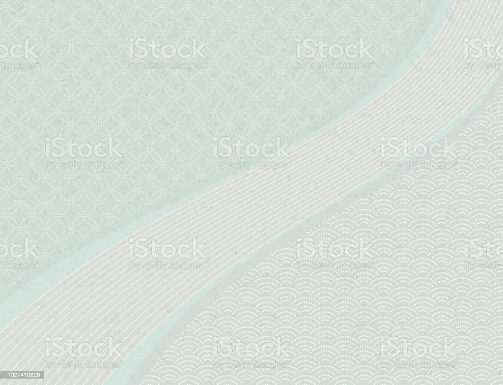 Qinghai wave and treasure pattern. Background material of Japan. vector art illustration