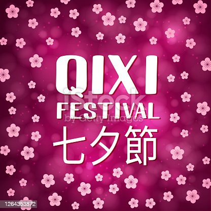 istock Qixi Festival the inscription in Chinese language. Qiqiao or Double Seven Festival or Evening of Seven. Valentine's Day in China. Vector template for banner, poster, flyer, greeting card, etc 1264353872