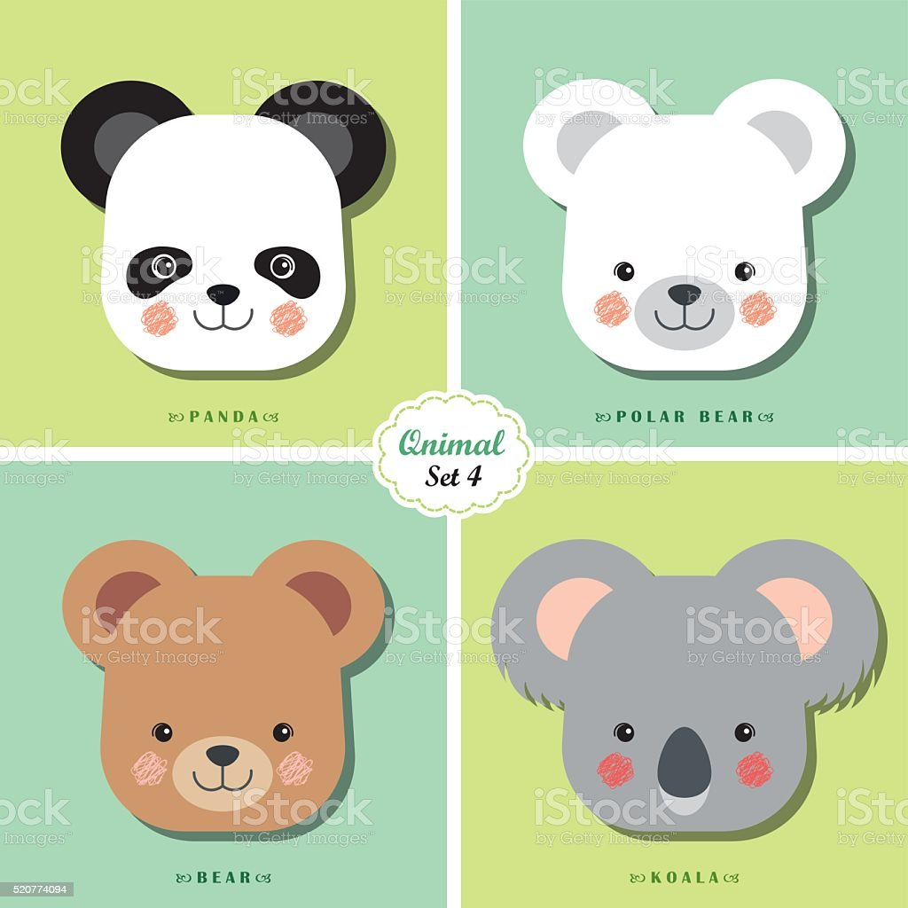 Qnimal set 4 vector art illustration