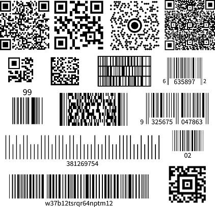 qr bar code types set