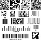 Universal product code barcode types realistic set with two dimensional matrix symbols and numbers system vector illustration