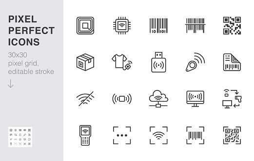 RFID, qr code, barcode line icon set. Price tag scanner label reader, identification microchip vector illustration. Simple outline signs retail safety application. 30x30 Pixel Perfect Editable Stroke