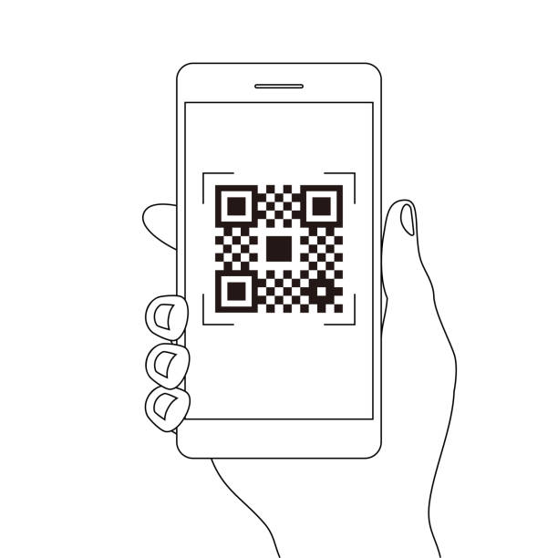 qr code payment hand finger smartphone app cashless technology concept vector line illustration design image. digital pay without money. - hand holding phone stock illustrations