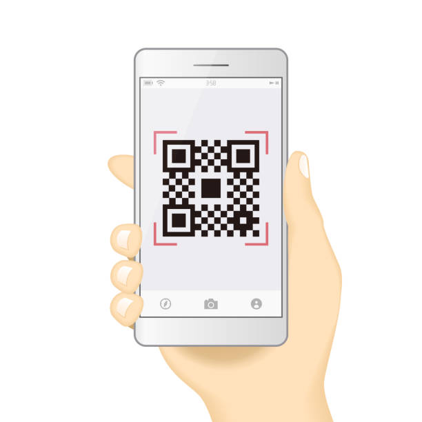 qr code payment hand finger smartphone app cashless technology concept vector illustration design image. digital pay without money. - hand holding phone stock illustrations