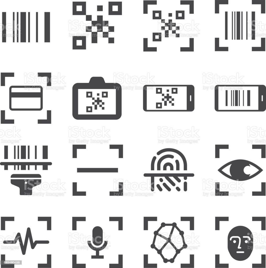 qr code scanner and bar code scan vector line icon set. Included the icons as qr code, bar code, scanner, fingerprint scan and more. vector art illustration
