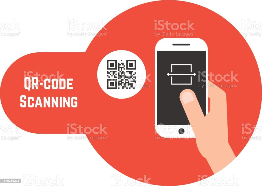 qr code scanning in red bubble vector art illustration