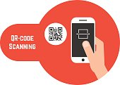 qr code scanning in red bubble