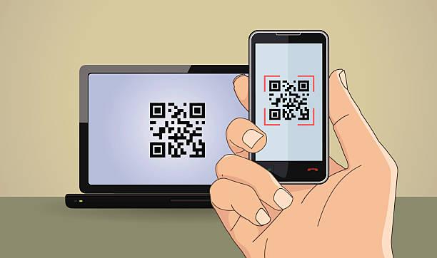 qr-код - hand holding phone stock illustrations