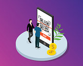 qrcode isometric with business man standing circle big smartphone with scanning of mobile payment technology - vector