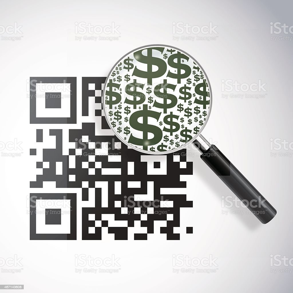 QRcode with magnifying lens and dollar signs vector art illustration