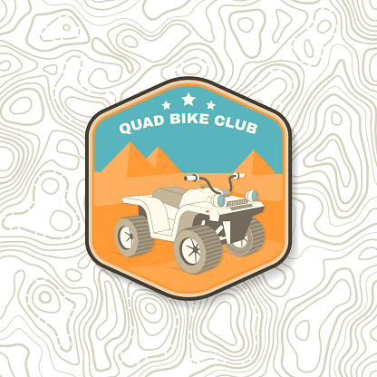 Quad bike club. Summer camp. Vector Patch or sticker. Concept for shirt or logo, print, stamp or tee. Vintage typography design with quad bike near Egypt pyramids silhouette. Camping quote.